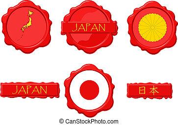 briefmarke, japan, wachs