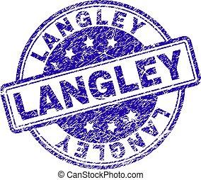 briefmarke, langley, textured, grunge, siegel