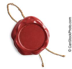 briefmarke, leer, wachssiegel, oder, rotes