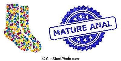 briefmarke, mehrfarbig, fällig, not, struempfe, collage, anal