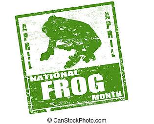 briefmarke, national, frosch, monat