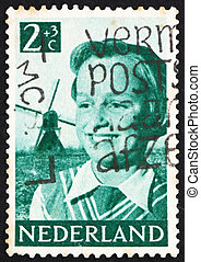briefmarke, niederlande, 1951, m�dchen, und, windmühle
