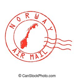 briefmarke, norwegen, oder, zeichen