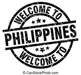 briefmarke, philippinen, herzlich willkommen, schwarz