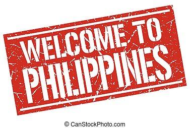 briefmarke, philippinen, herzlich willkommen
