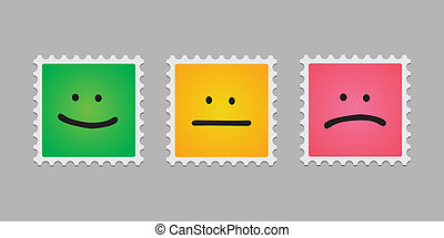 briefmarke, post, emoticons