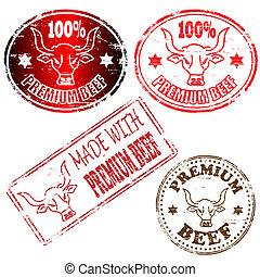 briefmarke, prämie, rindfleisch