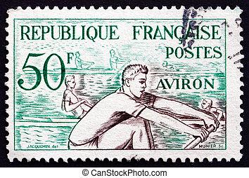 briefmarke, rudern, wasser, frankreich, 1953, sport