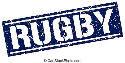 briefmarke, rugby, quadrat, grunge