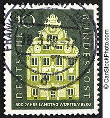 briefmarke, stuttgart, 1957, deutschland, landschaft,...