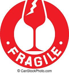 briefmarke, symbol), zerbrechlich, (fragile