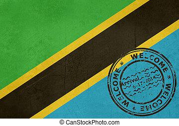 briefmarke, tansania, herzlich willkommen, fahne, reisepaß