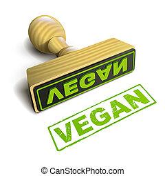 briefmarke, vegan, mit, grün, text, weiß