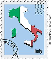 briefmarke, vektor, italien