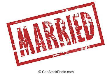 briefmarke, verheiratet