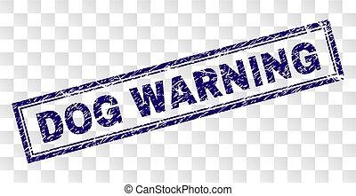 briefmarke, warnung, grunge, hund, rechteck