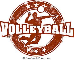 briefmarke, weinlese, sport, volleyball
