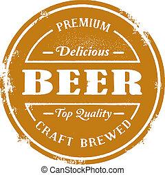 briefmarke, weinlese, stil, bier