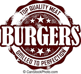 briefmarke, weinlese, stil, hamburger, menükarte