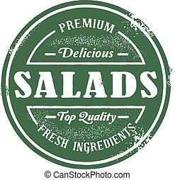 briefmarke, weinlese, stil, salat