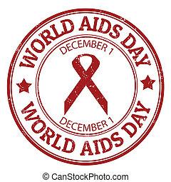 briefmarke, welt, tag, aids