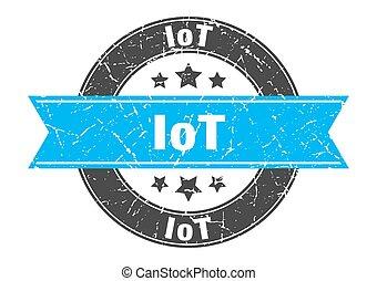 briefmarke, zeichen, runder , etikett, iot, ribbon.