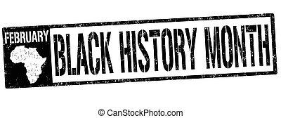 briefmarke, zeichen, schwarz, monat, oder, geschichte