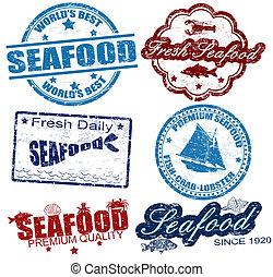 briefmarken, meeresfrüchte