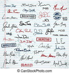 briefmarken, unterschriften