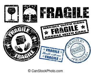 briefmarken, zerbrechlich, zeichen & schilder
