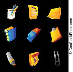 briefpapier, de pictogrammen van het bureau