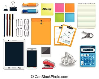 briefpapier, set, vector, iconen