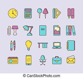 briefpapier, vector, set, iconen