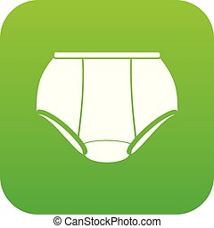Briefs underpants icon green vector isolated on white...