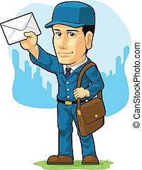 briefträger, briefzusteller, karikatur, oder