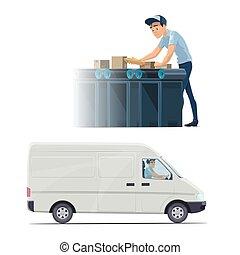 briefträger, lieferbote, und, botenservice, beruf, ikone