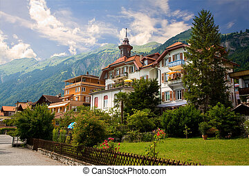 This is a view of the Municipality of Brienz in the district of Interlaken in the canton of Berne in Switzerland.