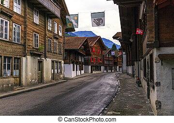 Brienz village, Berne canton, Switzerland - Street in Brienz...