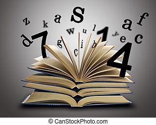 brieven, boek, magisch, getallen