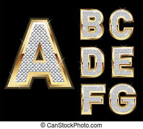 brieven, diamant, set, goud, a-g