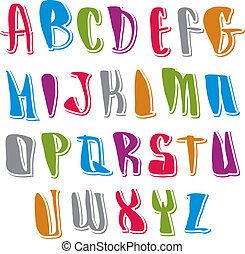 brieven, draaiboek, alfabet, calligraphic, set, vector,...