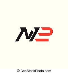 brieven, eenvoudig, vector, m2, logo, geometrische lijn