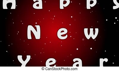 brieven, jaar, animation achtergrond, nieuw, 2019, wit rood, vrolijke