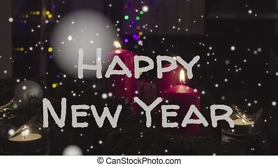 brieven, kaarsjes, jaar, animatie, nieuw, 2019, wit rood, vrolijke