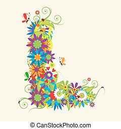 brieven, l, ook, zien, brief, floral, mijn, galerij, design.