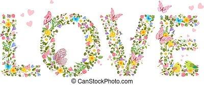"""brieven, """"love"""", van, lentebloemen, met, vliegen, vlinder, en, c"""