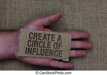 brieven, mensen, tekst, enig, opvallend, menselijk, ground., scheppen, motiveren, schrijvende , anderen, influencer, conceptueel, cirkel, leider, zijn, foto, zakelijk, het tonen, hand, zak, karton, jute, influence.