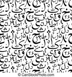 brieven, model, abstract, seamless, black , witte , urdu, kalligrafie