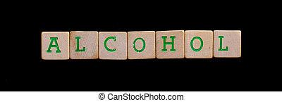 brieven, op, oud, houten blokken, (alcohol)