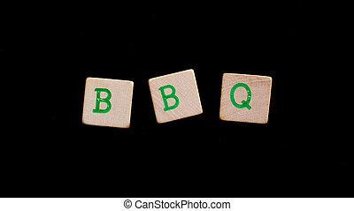 brieven, op, oud, houten blokken, (bbq)